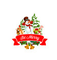 christmas tree gift and snowman greeting card vector image