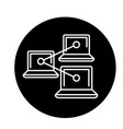 computer work network black icon sign on vector image