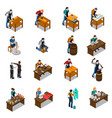 craftsman isometric icons set