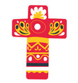 cross decorated with ornaments and flowers vector image