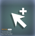 Cursor arrow plus add icon sign On the blue-green vector image vector image