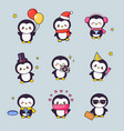 cute penguin kawaii clipart sticker set bird vector image