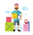 Delivery man Flat style colorful Cartoon vector image vector image