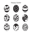 Easter Eggs Decorating Icons Set Monochrome vector image vector image