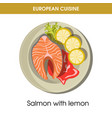 european cuisine salmon fish traditional dish food vector image vector image