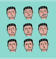 face expressions handsome man with dark hair vector image