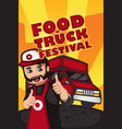 food truck festival poster vector image vector image