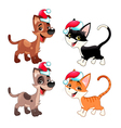 Funny Christmas dogs and cats vector image vector image