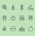 gardening icons set with gnome fountain draw vector image
