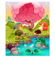 Group of cute animals in the countryside vector image