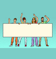 group of people with banner vector image