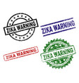 grunge textured zika warning seal stamps vector image vector image