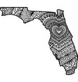 heart in florida state map vector image
