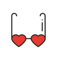 heart shaped glasses line icon retro sunglasses vector image