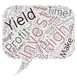 How To Select The Right High Yield Investment text vector image vector image
