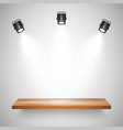 illuminated realistic wooden wall shelf empty vector image vector image