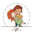kids in love cartoon vector image vector image