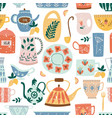kitchen seamless pattern ceramic tableware flat vector image