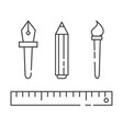 linear graphic design icons - ruler brush vector image