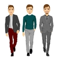 portrait of young men walking forward vector image