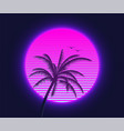 retrowave sunset with palm silhouette and flying vector image vector image