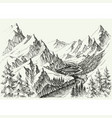 river flow in mountains hand drawn alpine vector image vector image