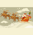 santa claus and deers with sleigh flying over vector image vector image