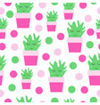 seamless pattern with smiling cactus vector image