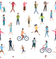 seamless pattern with walking people persons in vector image