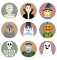 set nine halloween characters vector image vector image