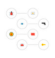 set of security icons flat style symbols with vector image vector image