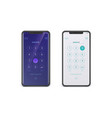 smartphones with digital dial ui screen vector image vector image