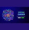 spring garden neon banner design vector image vector image