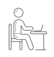 student sitting on chair at the desk line icon vector image vector image