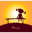 Sunset silhouette of a lonely girl vector image vector image