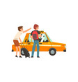 taxi service two men with suitcase and backpack vector image
