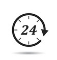 time icon flat 24 hours on isolated background vector image