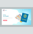 time to travel passport and tickets on flight vector image vector image