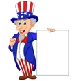 Uncle sam cartoon with blank sign vector image vector image