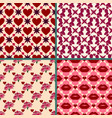 valentines day background set bright retro vector image