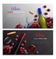 wine realistic horizontal banners vector image