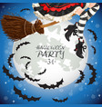 witch flying on a broomstick banner vector image vector image