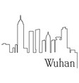 wuhan city one line drawing vector image