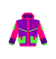flat style skiing hiking winter sport jacket vector image