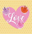 love pink heart and birds flying card vector image