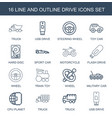 16 drive icons vector image vector image