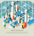 airport waiting area isometric vector image vector image