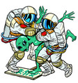 astronauts arrested an alien green man at a vector image vector image