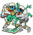 astronauts arrested an alien green man vector image vector image