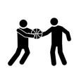 basketball game players with ball recreation vector image